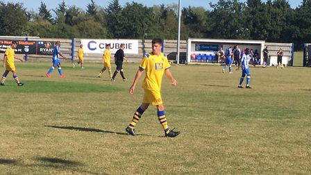 AFC Sudbury left-back, Harry Critchley, in action during Saturday afternoon's league clash at Hullbr