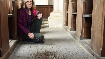 Cathy Smith, member of the Suffolk Bat Group and local resident, with some of the mess inside All Sa
