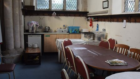 The kitchen area at All Saints Church in Wetheringsett, where bats are causing damage and mess from