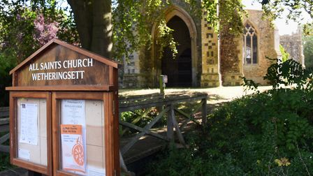 All Saints Church in Wetheringsett, where bats are living, causing damage and mess from their droppi