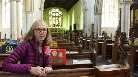 Cathy Smith, member of the Suffolk Bat Group and local resident, at All Saints Church in Wetheringse