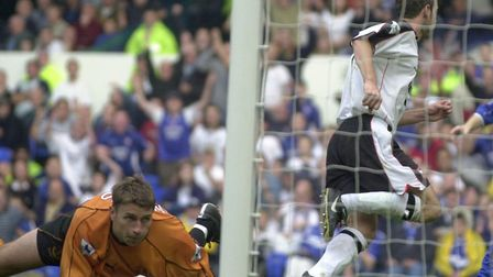 Marcus Stewart spins away after scoring Town's second goal in a superb 3-0 win at Everton. Picture: