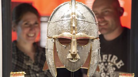 Replica of the king's helmet in the exhibiton at Sutton Hoo Picture: PHIL MORLEY