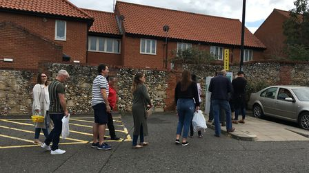 There were also queues at the pay on exit machine near Wilko Picture: MARIAM GHAEMI