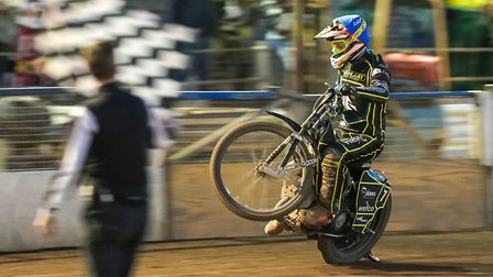 Jake Allen takes the chequered flag to win heat four. Picture: Steve Waller www.stephenwaller.