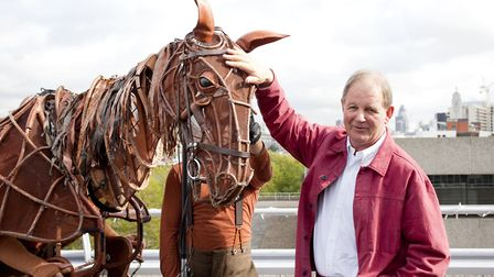 Michael Morpurgo and Joey, the sophisticated, life-sized puppet created for the National Theatre pro