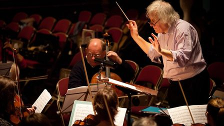 Christopher Green, a founding father of Trianon, conducts the orchestra in rehearsal. Picture: Geoff