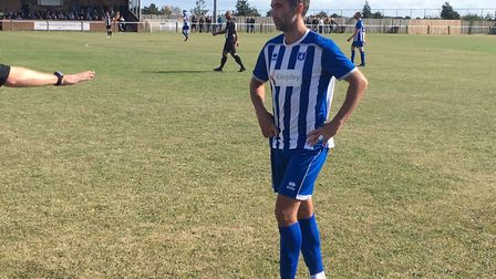 Former Norwich City midfielder Simon Lappin, playing for Wroxham at Woodbridge Town today. Picture: