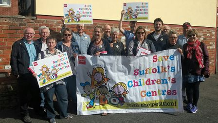 People in Ipswich taking part in a �Save Suffolk�s Children'�s Centres� day of action, led by the La