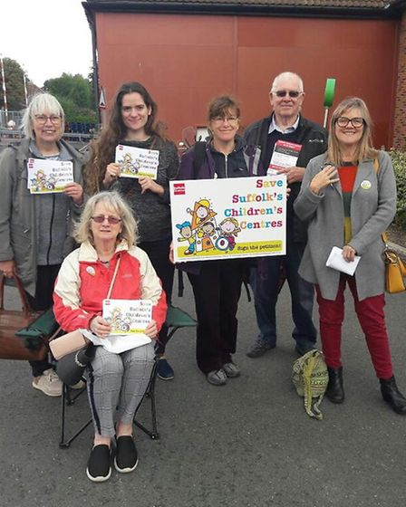 Stowmarket campaigners taking part in the day of action over children's centres Picture: STOWMARKET
