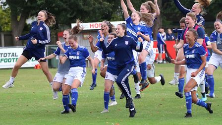 Ipswich Town Women players celebrate their 3-2 win over Actonians at the final whistle Picture: ROSS