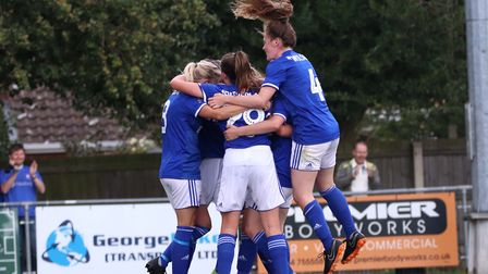 Ipswich Town Women players celebrate Amanda Crump's late winner in the 3-2 win over Actonians Pictur