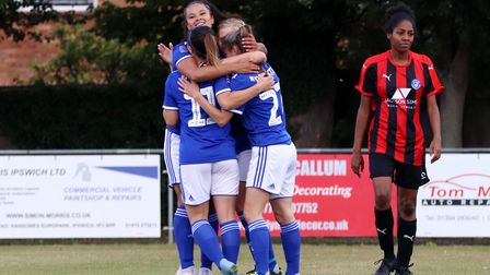 Ipswich Town Women players celebrate their opening goal against Actonians Picture: ROSS HALLS