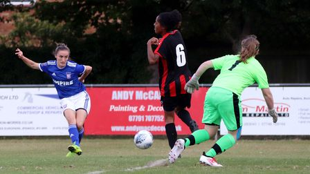 Sophie Peskett puts Town in front against Actonians in the first half Picture: ROSS HALLS
