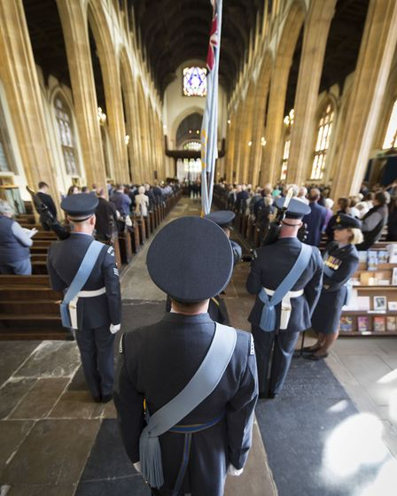 The parade and service commemorates the 1940 battle where the outnumbered RAF saw off the aerial mig