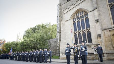 The parade consists of personnel from RAF Honington plus personnel from the US Air Force at RAF Mild