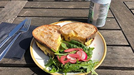 Mark's sandwich at the Folk Cafe - coronation chicken on toasted sourdough. Cracking, but messy to e