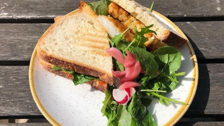 Liz's sandwich at the Folk Cafe - a classic fish finger on toasted white bread. Fresh and meaty