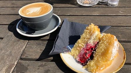 Mark's Victoria Sponge and latte at Folk Cafe. Beautiful, rich cake.