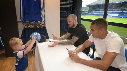 Rocco Chiberton saying hello to James Norwood and Kayden Jackson Picture: SARAH LUCY BROWN