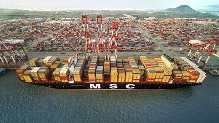 The MSC Gulsun arrived at Felixstowe via Rotterdam Picture: MSC RIGHTS