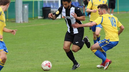 Carlos Edwards, on the attack for Woodbridge Town, against Norwich United. Picture: RICHARD SCOTT