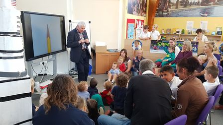 Mr Butterworth spoke to youngsters at Aldeburgh Library Picture: RACHEL EDGE