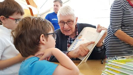 Children's author Nick Butterworth signed books for young fans Picture: RACHEL EDGE