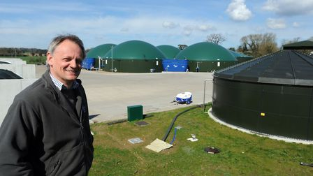 Andrew Blenkiron, of Euston Estate Farms by the estate's AD plants, which are now run by Material Ch
