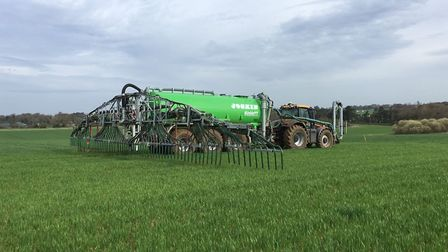 A digestate tanker at work on the Euston Estate Picture: PETE MANSELL