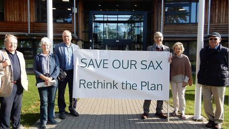 Campaigners with their Save Our Sax banners outside East Suffolk House Picture: SAXMUNDHAM TOWN COUN