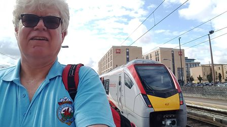 Paul Geater about to get on the new train at Cambridge. Picture: PAUL GEATER