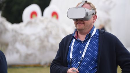 Trying out virtual reality. Picture: DENISE BRADLEY