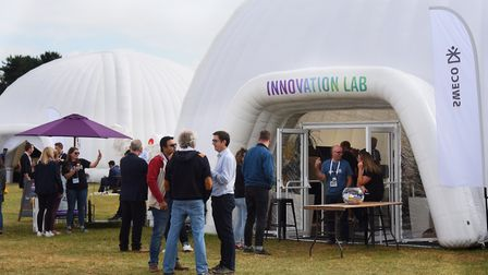 The inflatable pods housing different challenges, innovations and discussion groups. Picture: DENISE