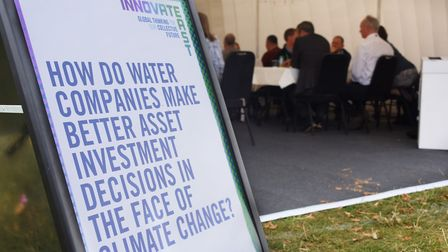 Topics of discussion are posted outside the pods at the Innovate East conference event. Picture: DEN