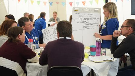 People discuss various topics at the Innovate East conference event by Anglian Water and Essex & Suf