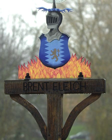 Brent Eleigh village sign featuring the Colman family crest Picture: MICHAEL HALL
