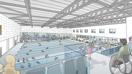 The proposed new swimming pool at Bury St Edmunds Leisure Centre within the Western Way development