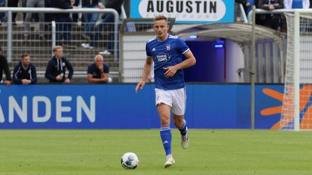 Luke Woolfenden on the ball for Ipswich against Fortuna in the first game of the Interwetten Cup Pic