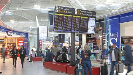Passengers in the departure lounge at Stansted Airport Picture: LUCY MARTIN