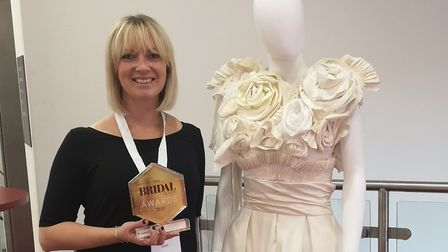Jenna Martin with her winning design at the Bridal Buyer awards in Harrogate Picture: JENNA MARTIN