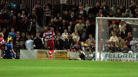 Doncaster Rovers take an early lead against Town, at the old Belle Vue ground in September, 2004. Pi