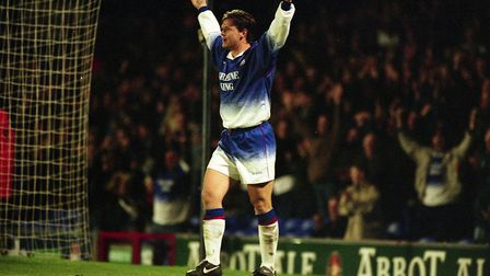Neil Gregory, celebrating a goal for Ipswich Town, went on to score for Colchester United in an inci