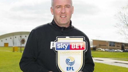 Lambert pictured with the manager of the month award for March 2017, when he was in charge of Wolves