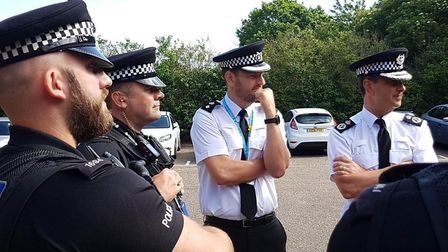 Officers from Suffolk police being briefed ahead of the Operation Sentinel launch Picture: RACHEL ED