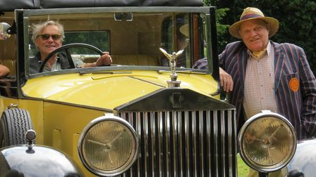 Charlie Haylock and Jo Burge, in the Rolls Royce, at the launch of Suffolk Churches Ride and Stride