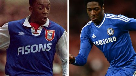 Doncaster striker Alex Kiwomya, pictured right during his Chelsea days, is the nephew of former Ipsw