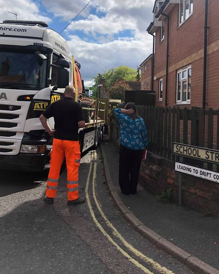 A construction lorry collided with a wall along School Street in Needham Market Picture: CHANTAL DAW