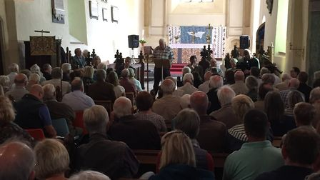 Concerned Suffolk Coastal residents packed out the church in Theberton Picture: ANDREW PAPWORTH