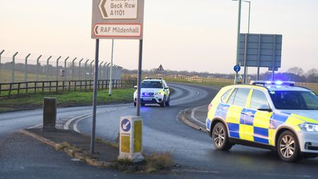 RAF Mildenhall was put on lock down after a vehicle hit the main entrance. Picture: GREGG BROWN